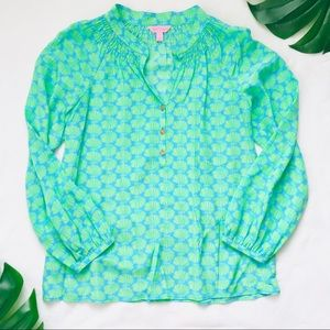 Lilly Pulitzer green clam shell blouse